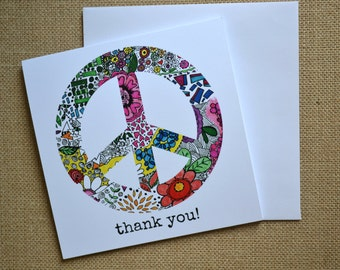 Thank You Notes. Peace Sign thank you cards.