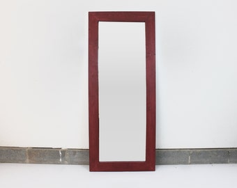 Large Red Floor Mirror/ Leaning Mirror/ Bathroom Mirror/ Vanity Mirror/ Wood Framed Mirror/ Rustic Mirror/ Wall Mirror