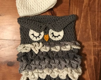 Handmade crocheted newborn owl cocoon with matching hat