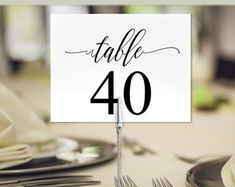 """Printable Wedding Table numbers 5.5"""" x 4.25"""", Party Table numbers, use flat or tented, Instant download PDF C121"""