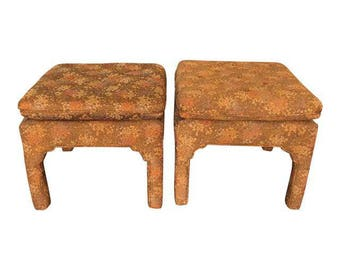 Pair of Hollywood Regency Upholstered Asian Style Pagoda Stools