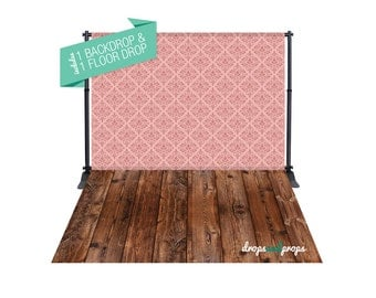 Pink Damask & Dark Wood – Photography Backdrop Combo