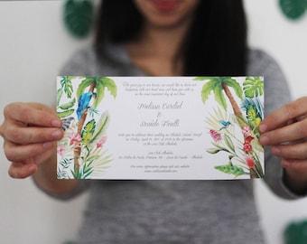 Brazil Wedding Invitations, Beach Destination Watercolor Wedding, Banana Leaf Wedding Invitation, Palm Leaves Wedding Invitation, Tropical