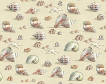 Sea Shells on Sand, Light Taupe, Coastal Bliss, Danhui Nai, WP (By 1/2 Yd)