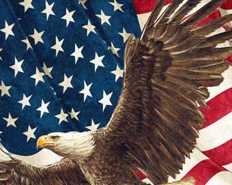 Patriotic Majestic Eagle, US Flag, Stonehenge, Deborah Edwards, Linda Ludovico, Stars & Stripes V (By Panel)