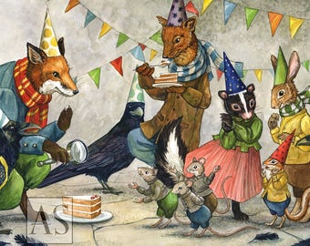 Celebrate with Hector Fox and Friends (large art card)