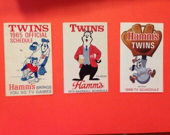 3 Vintage Hamms baseball schedules, featuring the Hamms Bear