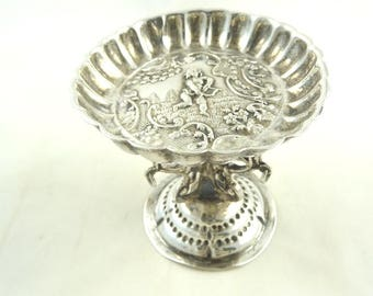 Antique Dutch Silver Dish Stand Featuring Cupid Bow & Arrow