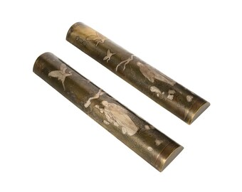 19th century Japanese pair of Mix Metal Scroll weights
