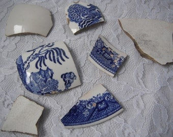 Vintage Weathered Pottery Pieces Shards Bits Mosaic Supplies Blue Willow White Stream