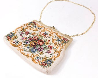"Vintage Multi-Colored Embroidered Floral Patterned Clutch Purse Handbag 8."" x 6.60"""