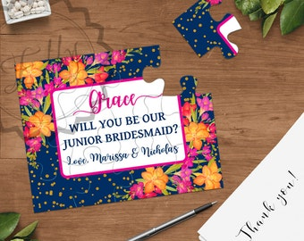 Will you be my Junior Bridesmaid Puzzle Card, Bridesmaid Proposal Card Be My Maid of Honor, Wedding Bridal Card, Puzzle Card Invitations