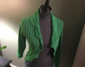 Beautiful green Crochet shrug. Handmade in my smoke and pet free home.