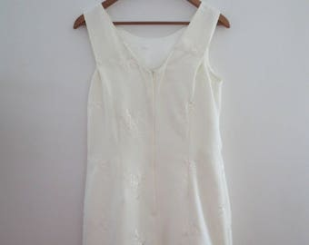 90s white rose embroidered dress