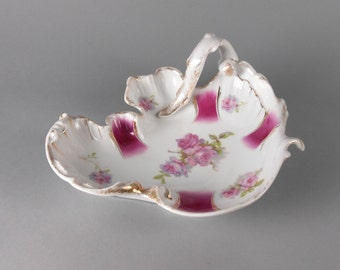 C T Germany Carl Tielsch Porcelain Shaped Bowl with Looped Handle