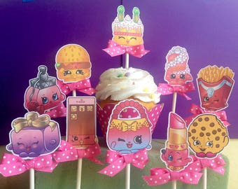 shopkins cupcake toppers, shopkins party, girls birthday party, shopkins decorations, birthday party,