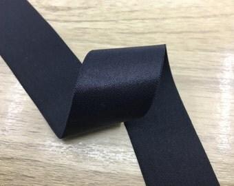 2 inch 50mm Wide Satin Black Elastic Band,Waistband Elastic,Elastic Trim by the Yard