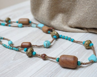 Bead Necklace chunky Jewelry vintage Retro Gift wooden glass brass bronze turquoise tan blue round ball large big boho teal brown