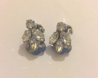 Vintage Sparkly Clear Paste Clip On Bridal Earring