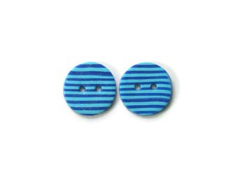 Small blue striped buttons - handmade buttons for knits and crochet -Buttons for knit wear - large polymer clay buttons - handmade