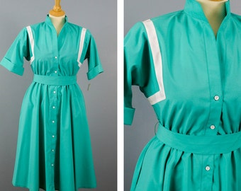 80s Dress, Petites by Willi, 1950s Remake Dress, Pop Collar Pin Up Dress, Button Up A Line Dress,  Size 6 Petites, Belted Shirt Dress, NWT