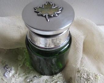 "STERLING Silver  Abalone  Shell "" Maple Leaf ""  Smelling Salts. Perfume Bottle.  English Hallmarks Smelling Salts. Jar."