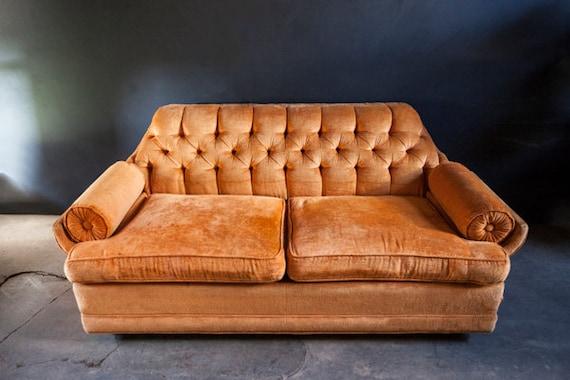 Mid Century Orange Tufted Velvet Sofa Love Seat Peg Leg