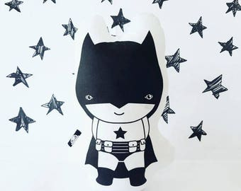 Batman toy, Handmade pillow, soft toy, Handmade doll, Toddler Toys , pillow toy,  Monochrome decor, kids room, stuffed toy, Superheroes