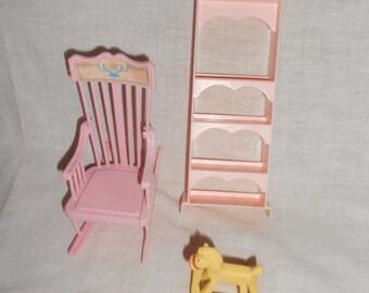 1986 McDonald's Horse Mattel Rocking Chair Pink Shelf Unit Vintage Doll House Toys Pretend