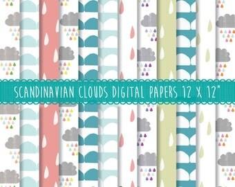 Scandinavian seamless pattern, Cloud Wallpaper, Geometric wallpaper patterns, Scandi Wallpaper, Seamless paper pack, Scandi geometric