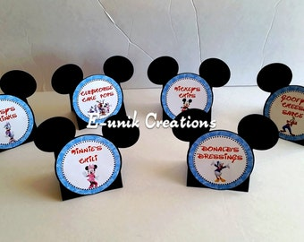 Mickey Mouse Food Labels, Tent Style Food Tags, Place Cards