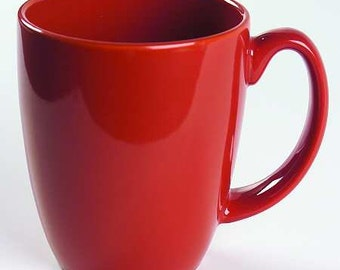 Vintage (1) Red Color Corelle By Corning Collectible Stoneware Mug