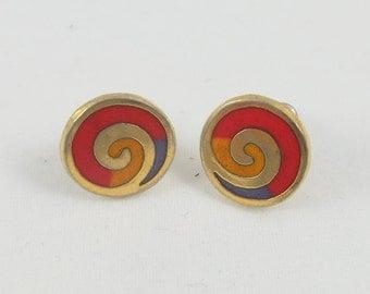 "Rare Signed ""LB"" Laurel Burch Gold Tone Stud Colorful Swirls Earrings"
