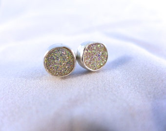 Druzy and silver post earrings, pink, black or white