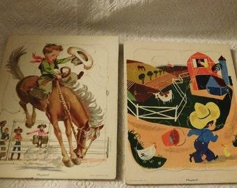 2 Vintage Playskool Puzzle