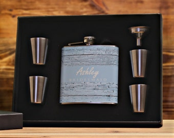 Bridesmaid Gift, Personalized Flask Gift Set for Bridesmaids, Rustic Wedding, Outdoor Wedding, Barnwood, Blue