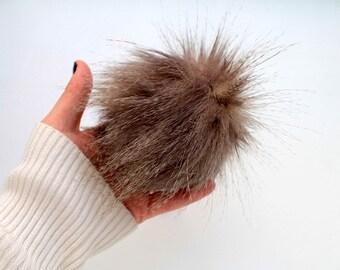 Brown Faux Fur PomPoms. Faux Fur Pom Pom