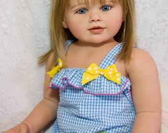 "CUSTOM ORDER Reborn Toddler Doll Baby  Child Size Girl Perla by Jannie De Lange 35"" Tall"