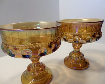 Pair of Amber Carnival Glass Pedestal dishes