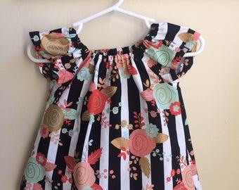 Baby girl vintage roses dress