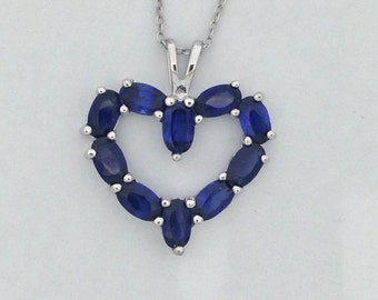 Created Sapphire Heart Pendant 925 Sterling Silver