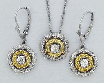 Natural Diamond Earrings and Pendant Set Solid 14kt White Gold
