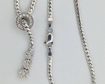 Natural  Diamond Necklace Solid 10KT White Gold