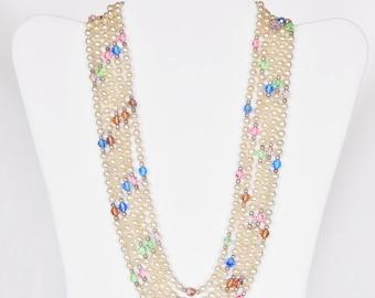 Vintage Austrian Crystal And Pearl Necklace - Elegant!