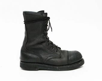 women's vintage black leather rocker military combat industrial hard toe boots 8.5