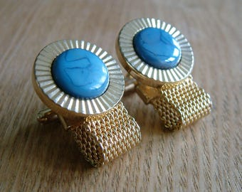 Large Vintage wrap around mesh cufflinks with crystals signed Hickok