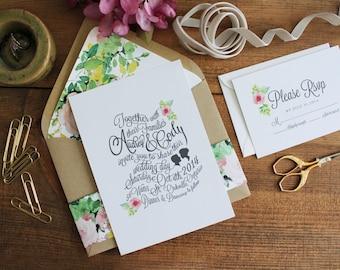 Floral Cameo Script Wedding Invitations// Vintage Inspired Wedding Invitations. Romantic Wedding Invite. Handwritten.  Sweet Wedding Invite.