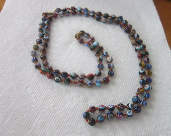 Long Vintage MURANO Venetian  MILLEFIORI Art Glass Beaded 49 inch Necklace Gorgeous
