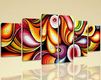 Extra Large Abstract Painting Canvas Art On Dining Room Six Panels Giclee Print, Extra Large Abstract Wall Art, Dining Room, Kenyan Copper