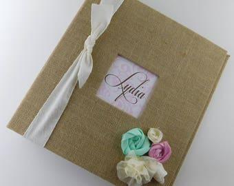 Photo Album Burlap Baby photo Album Girl Scrapbook 4x6 5x7 8x10 picture Chic Pink Mint Ivory Baby Shower Gift Shabby Flower